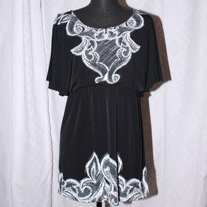 Style & Co Little Black dress w/white lace print